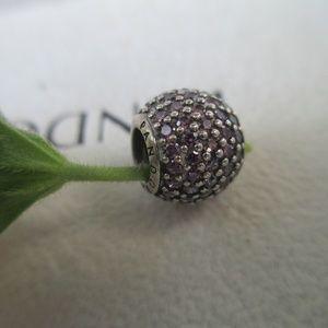 PANDORA Silver Pave' Lights Charm Bead, Pink CZ
